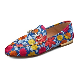 Shoespie Casual Sequin Embroidery Block Heel Floral Flat