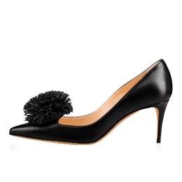 Shoespie Pointed Toe Slip-On Pompon Stiletto Heel