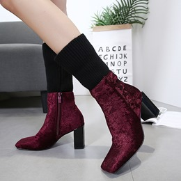 Shoespie Color Block Chunky Heel Square Toe Boots