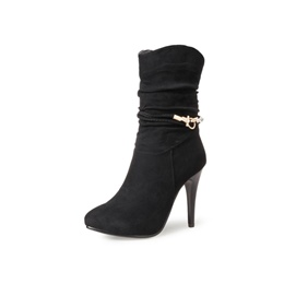 Shoespie Pointed Toe Stiletto Heel Rhinestone Buckle Ankle Boot