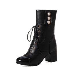 Shoespie Cross Strap Beads Velcro Chunky Heel Ankle Boot