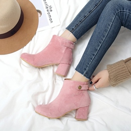 Shoespie Buckle Slip-On Chunky Heel Ankle Boot