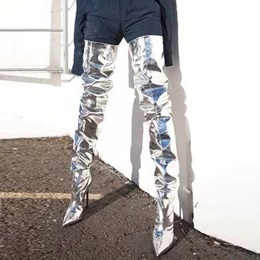 Shoespie Silvery Stiletto High Heels Thigh High Boots