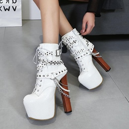 Shoespie Cross Strap Chain Rivet,Platform Buckle Chunky Heel Ankle Boots