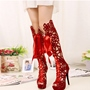 Shoespie Hollow Platform Mesh Lace-Up Front Knee High Boot