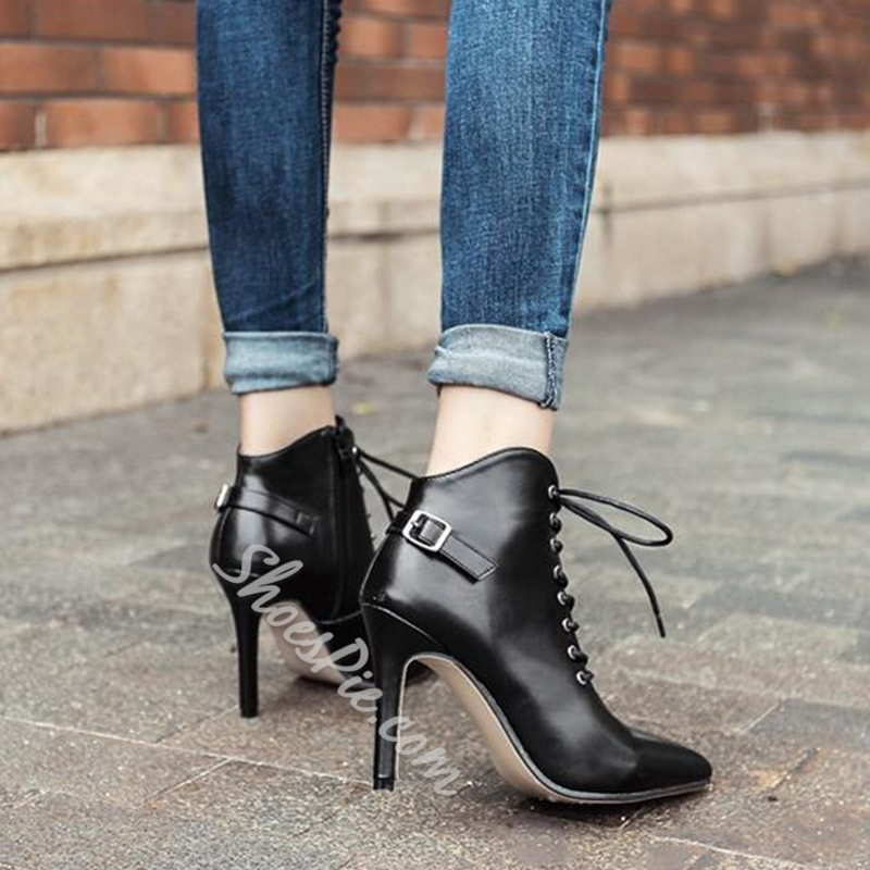 Shoespie Side Zipper Stiletto Heel Cross Strap Buckle Ankle Boot
