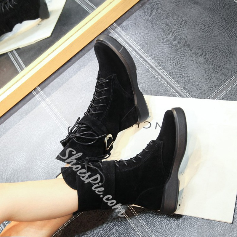 Shoespie Platform Buckle Lace-Up Front Flat Heel Ankle Boot