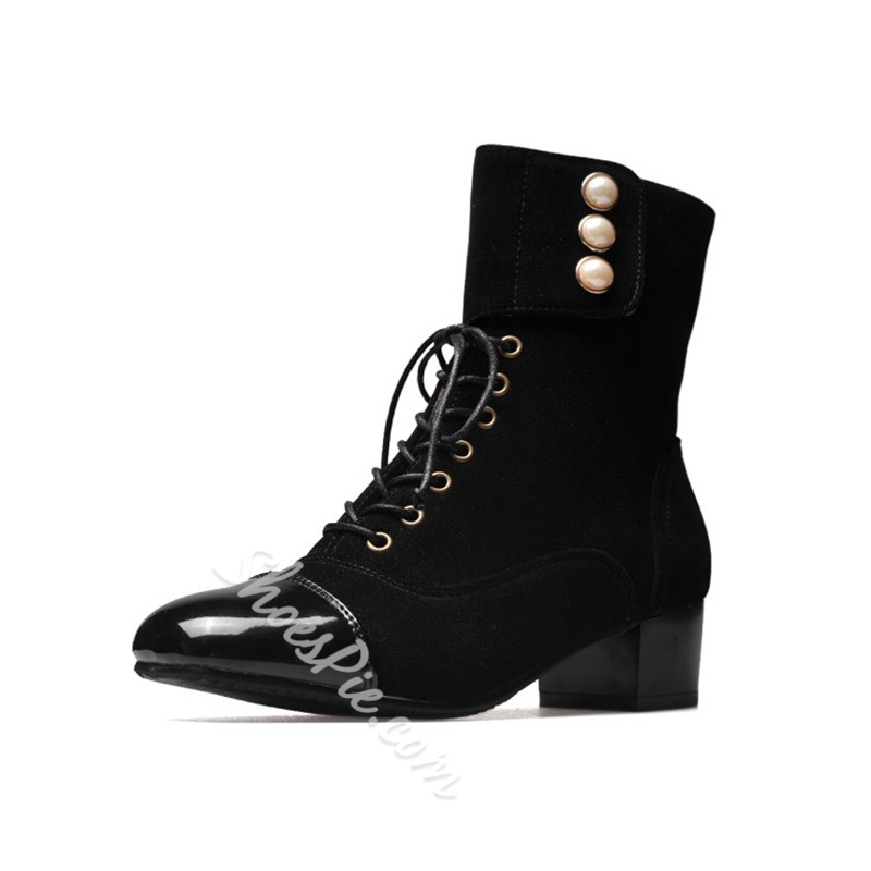 Shoespie Cross Strap Beads Square Toe Velcro Chunky Heel Ankle Boot