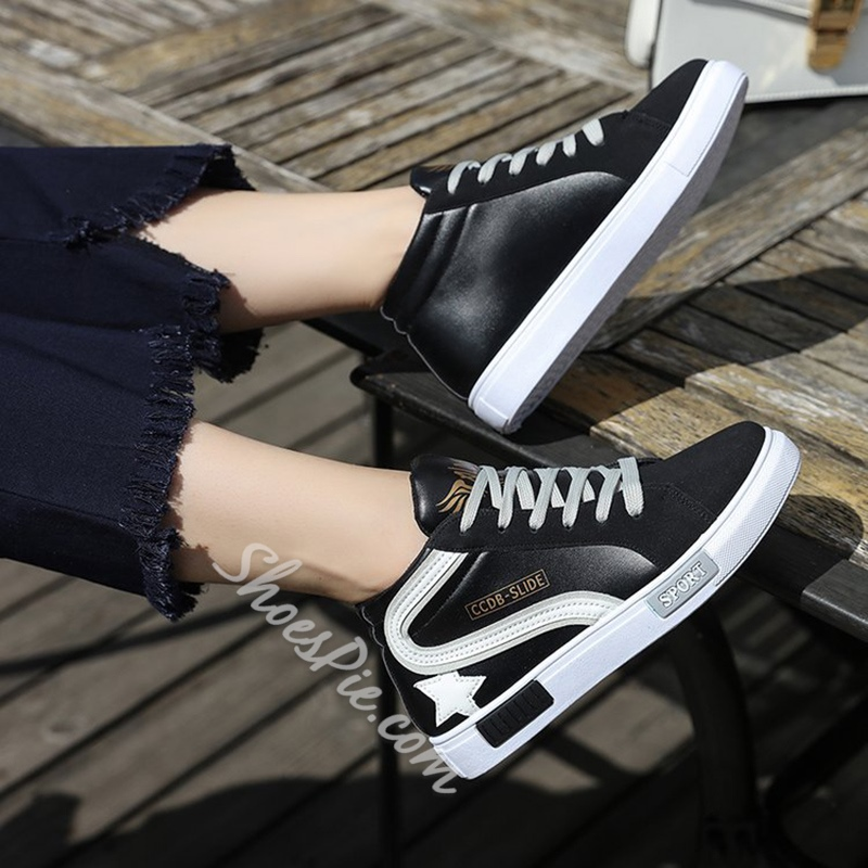 Color Block Letter Women's Sneakers