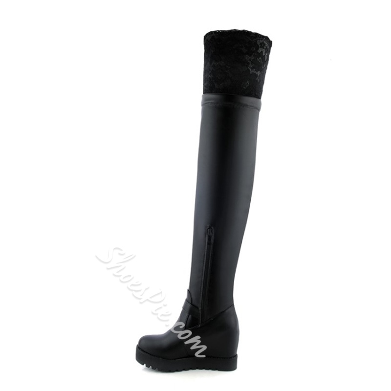 Shoespie Side Zipper Lace Platform Hidden Elevator Heel Knee High Boot