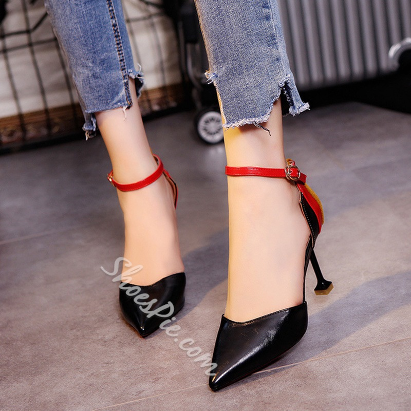 Shoespie Pointed Toe Patchwork Color Block Spool Stiletto Heel
