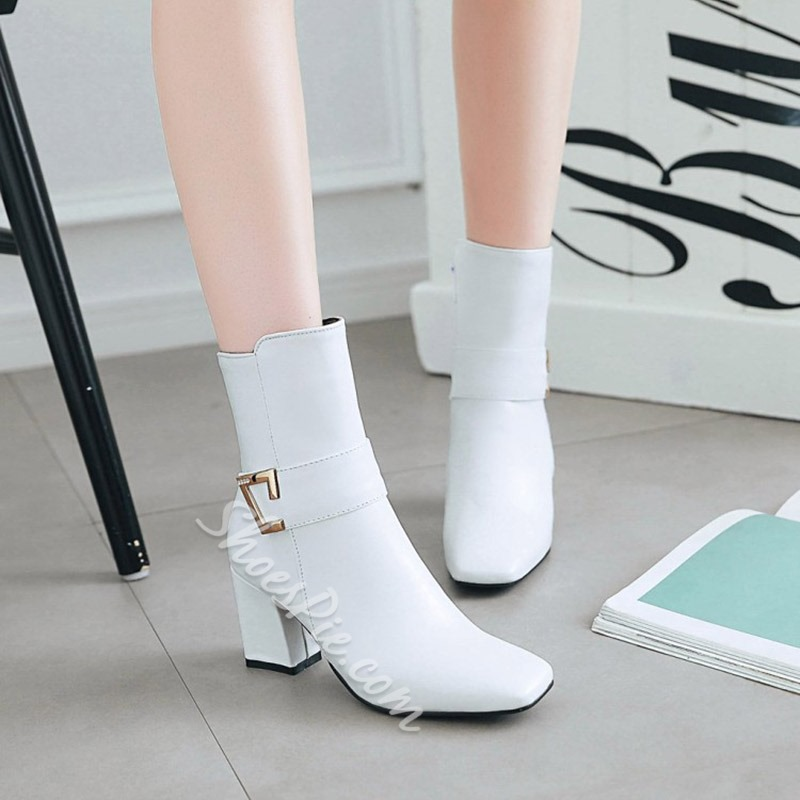 Shoespie Square Toe Chunky Heel Sequin Side Zipper Ankle Boot