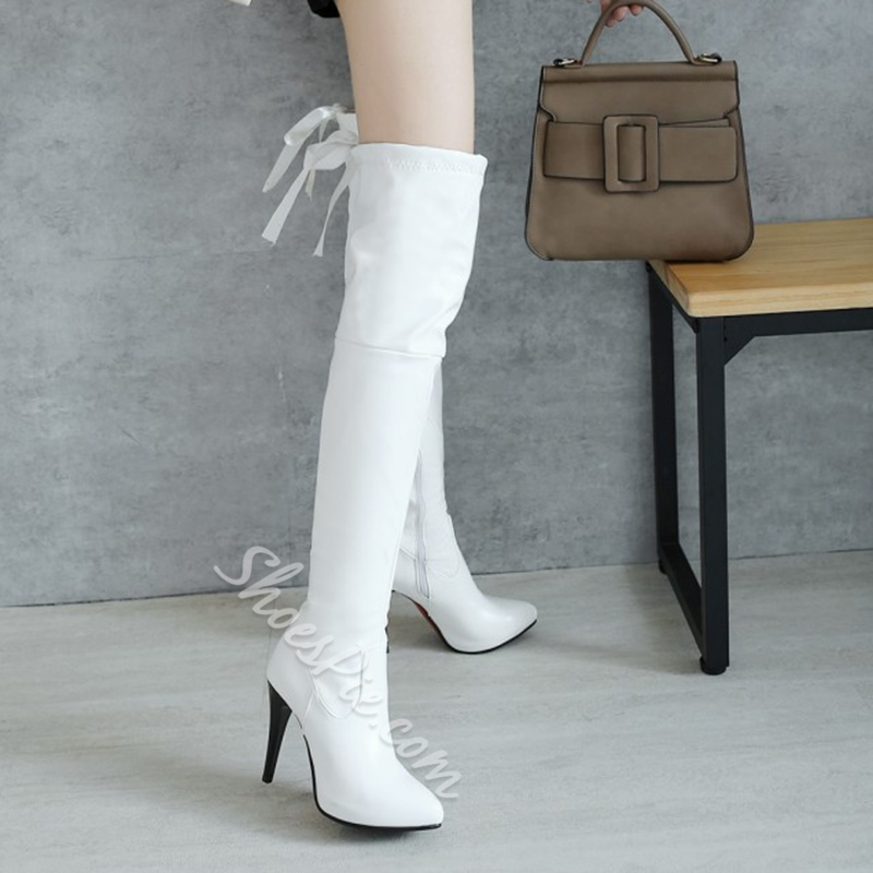 Shoespie Pointed Toe Side Zipper Knee High Boots