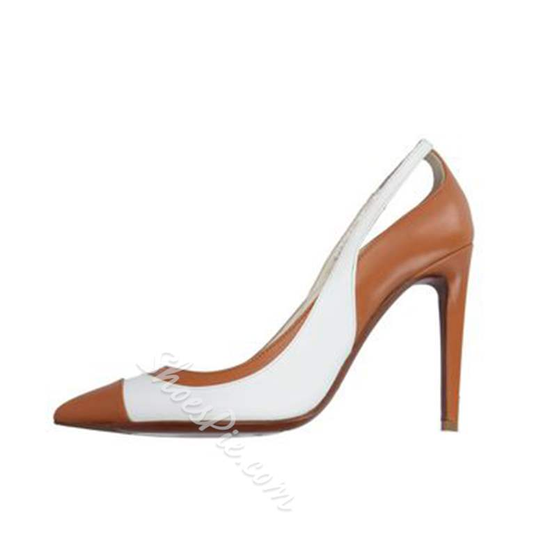 Shoespie Hollow Pointed Toe Color Block Stiletto Heel