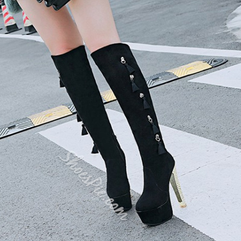 Shoespie Fringe Platform Side Zipper Chunky Heel Knee High Boots