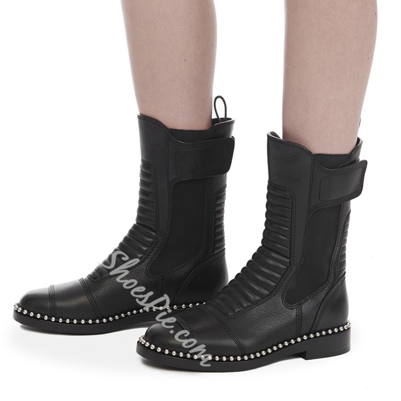 Shoespie Beads Thread Purfle Velcro Block Heel Ankle Boot