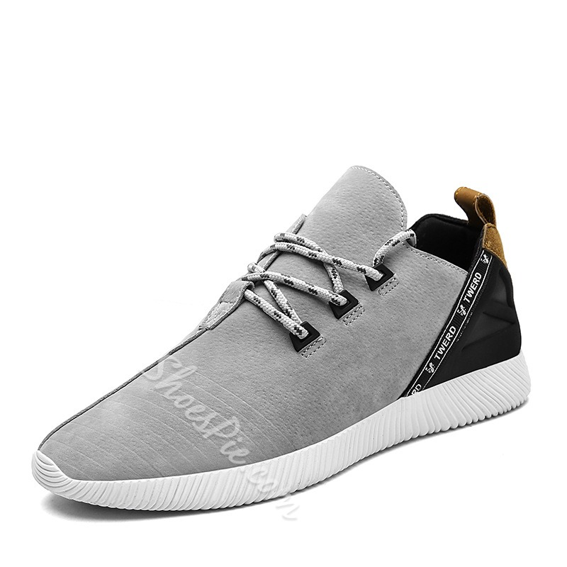 Shoespie Round Toe Color Block Lace-Up Sneaker