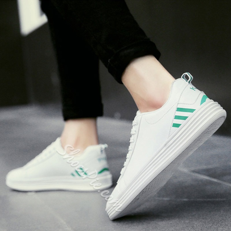 Shoespie Casual Stripe Round Toe Lace-Up Sneaker