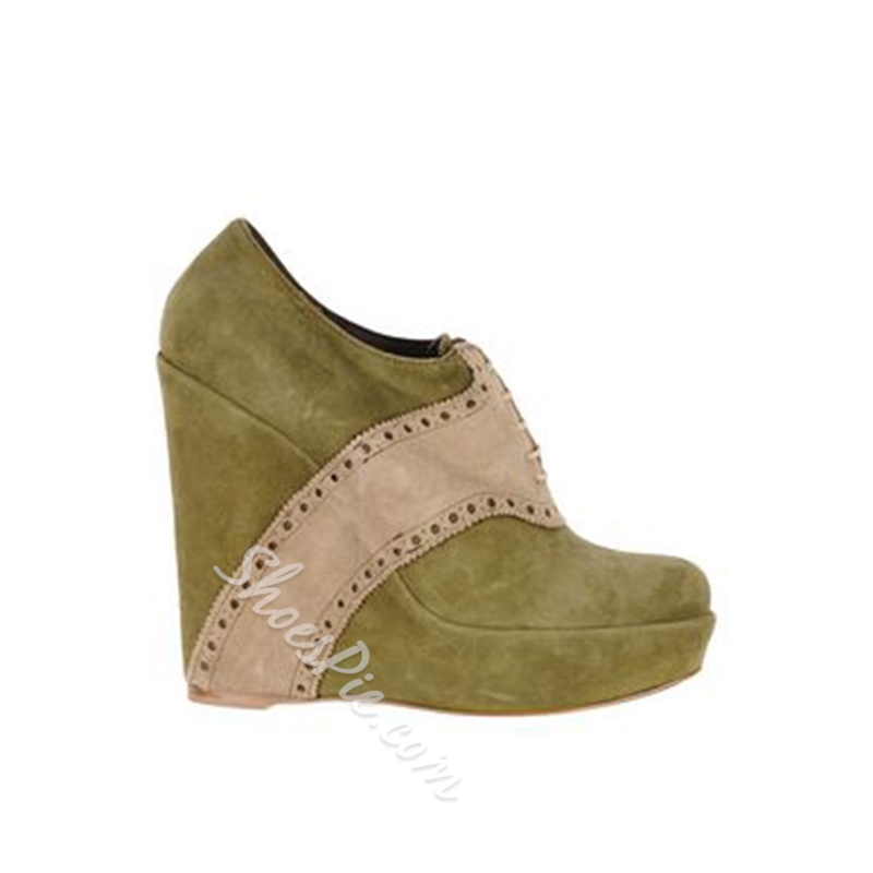 ShoespieColor Block Platform Lace-Up Front Wedge Heel Ankle Boots