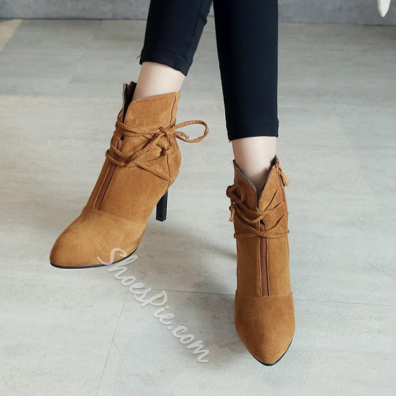 Shoespie Pointed Toe Side ZipperStiletto Heel Lace-Up Ankle Boots