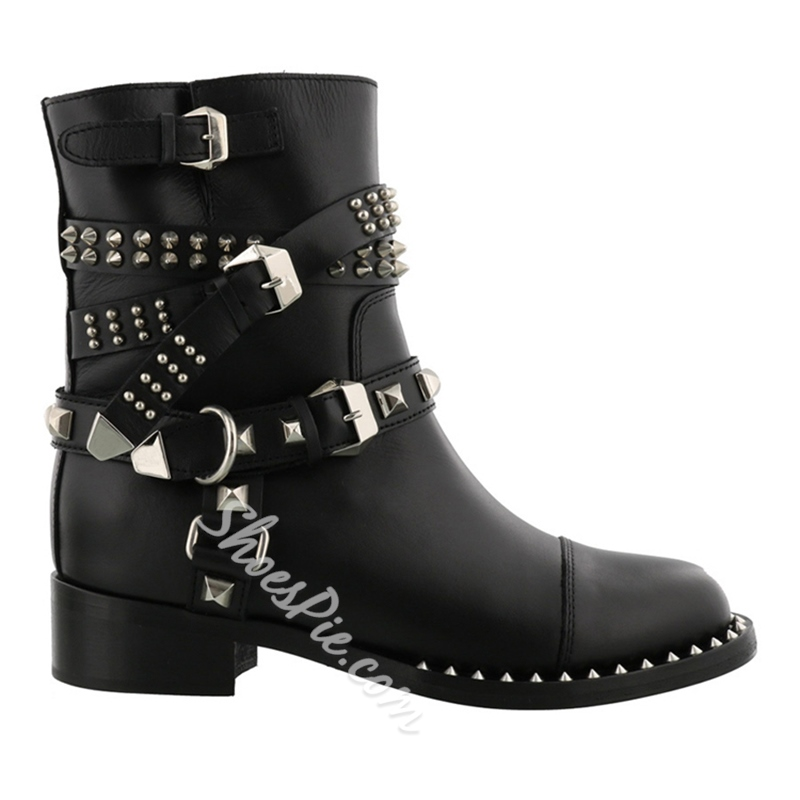 Shoespie Rivet Buckle Slip-On Block Heel Ankle Boot