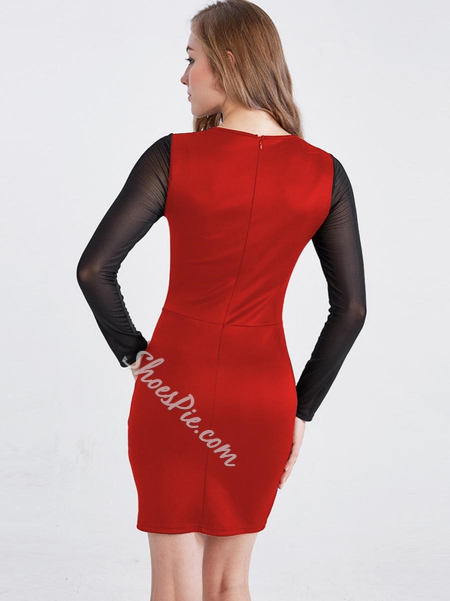 Shoespie Round Neck Mesh Long Sleeve Bodycon Dress
