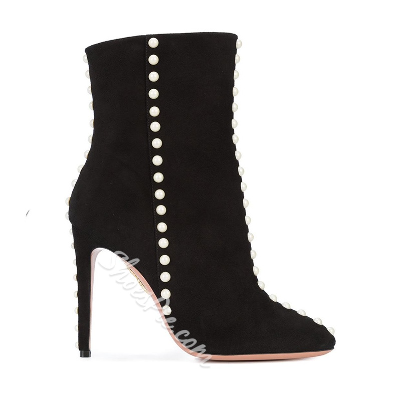 Shoespie Pointed Toe Beads Stiletto Heel Side Zipper Ankle Boots
