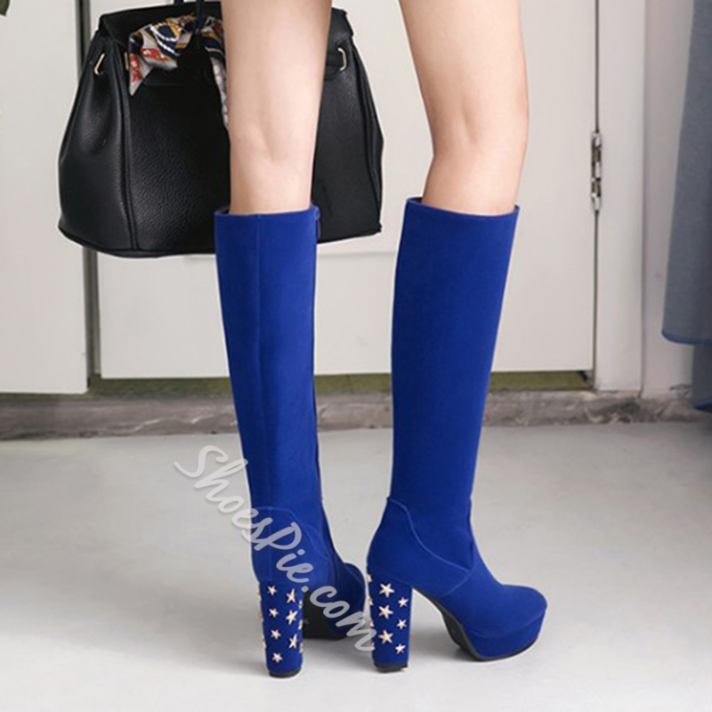 4fb148cfeb13 Shoespie Rivet Platform Side Zipper Chunky Heel Knee High Boot ...