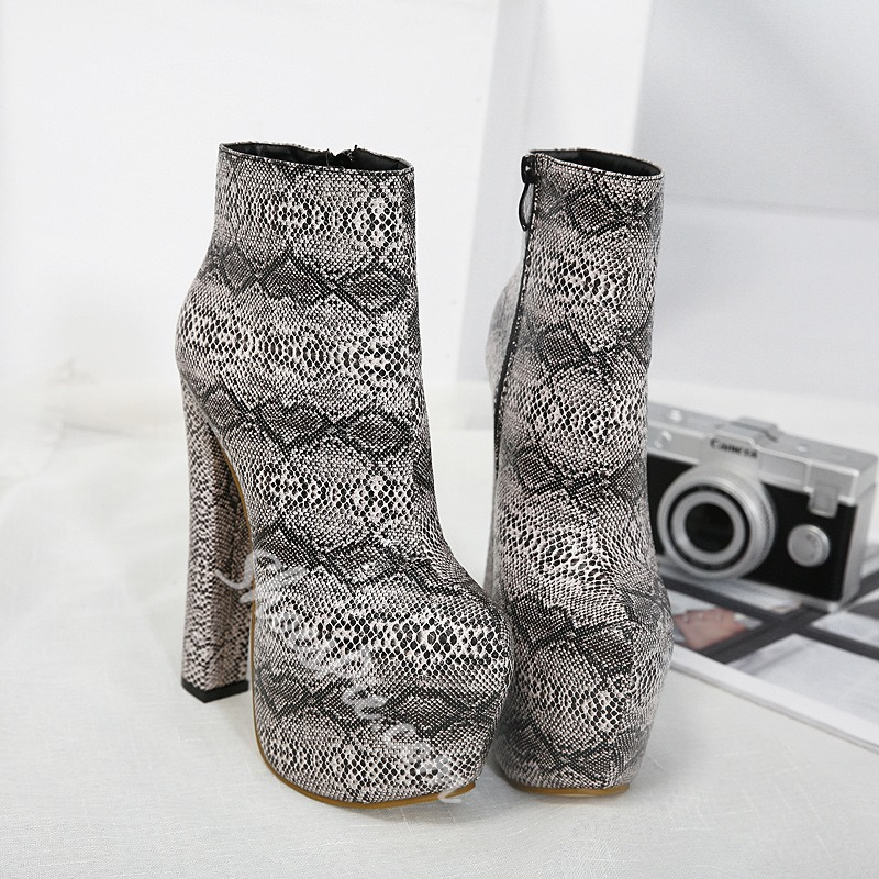 ShoespiePlatform Serpentine Side Zipper Chunky Heel Ankle Boot