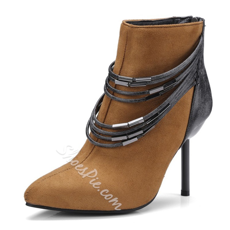 ShoespieBack Zip Chain Lace-Up Stiletto Ankle Boot