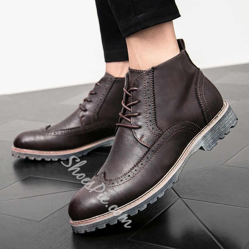 Shoespie Round Toe Lace-Up Front Ankle Boots
