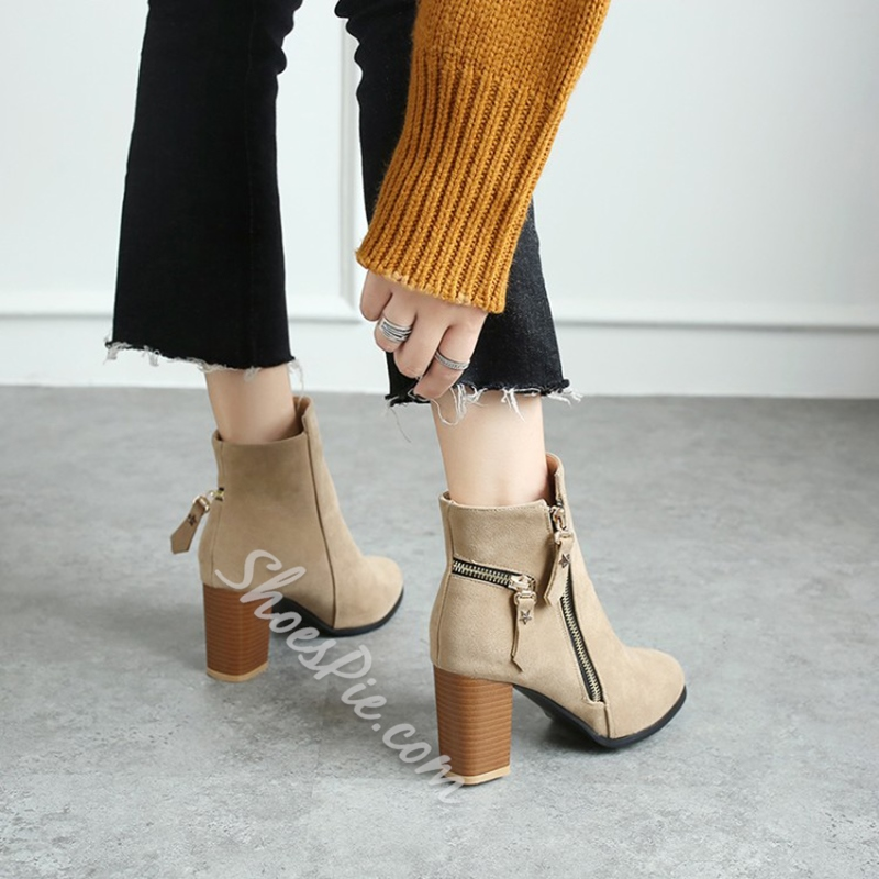 ShoespieCasual Side Zipper Chunky Heel Ankle Boot