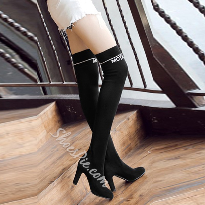 Shoespie Casual Letter Slip-On Stiletto Heel Knee High Boot