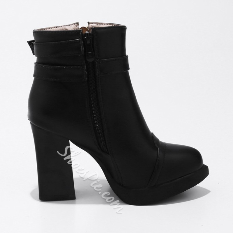 Shoespie Platform Buckle Zipper Side Zipper Chunky Heel Ankle Boot