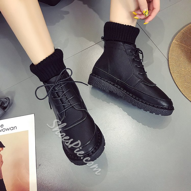 ShoespieRound Toe Platform Lace-Up Front Sneaker