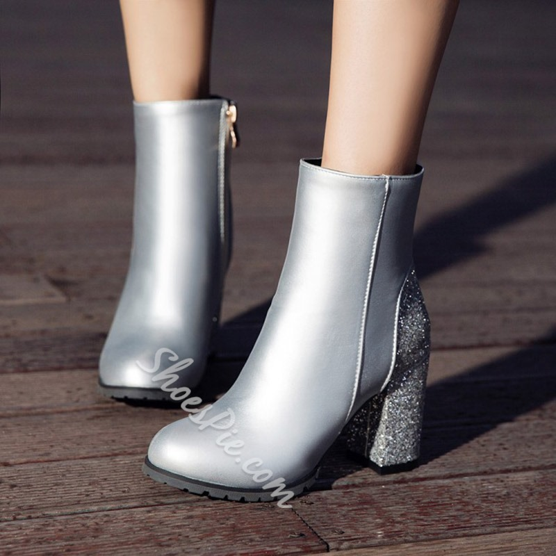 Shoespie Sequin Side Zipper Chunky Heel Ankle Boots