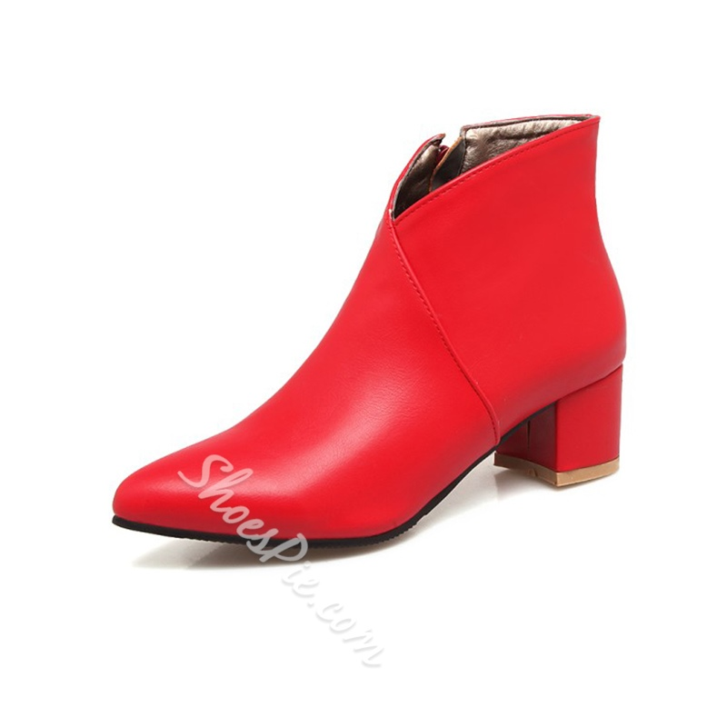 Shoespie Pointed Toe Side Zipper Chunky Heel Ankle Boots