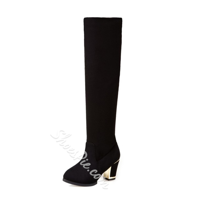 Shoespie Casual Slip-On Chunky Heel Knee High Boot
