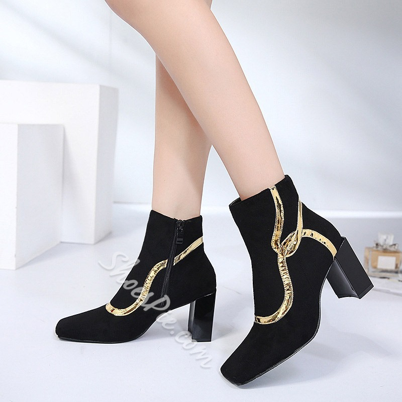 Shoepsie Side Zipper Chunky Heel Color Block Square Toe Ankle Boot