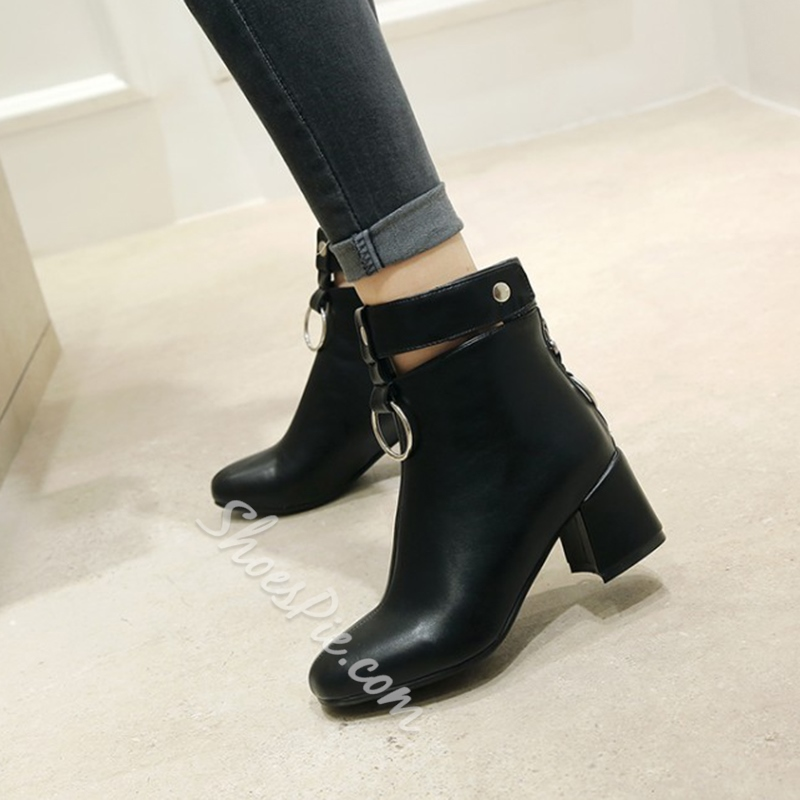 Shoespie Back Zip Sequin Chunky Heel Ankle Boot