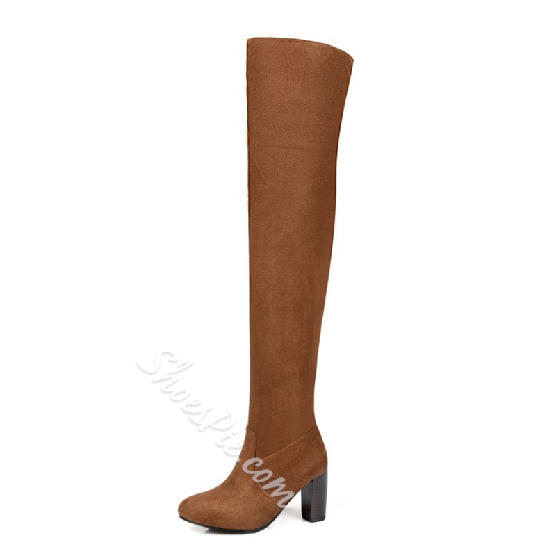 Shoespie Chunky Heel Side Zipper Short Floss Knee High Boot