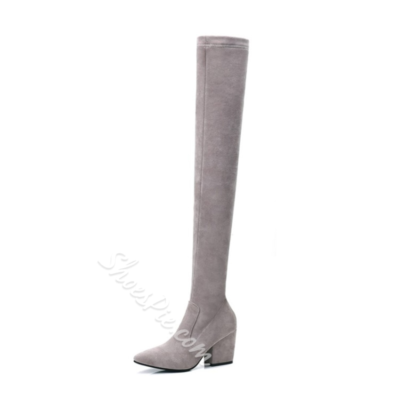 Shoespie Chunky Heel Side Zipper Knee High Boots