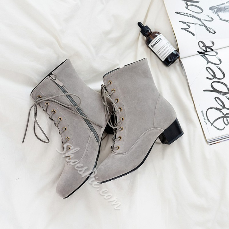 ShoespieSquare Toe Cross Strap Side Zipper Chunky Heel Ankle Boot