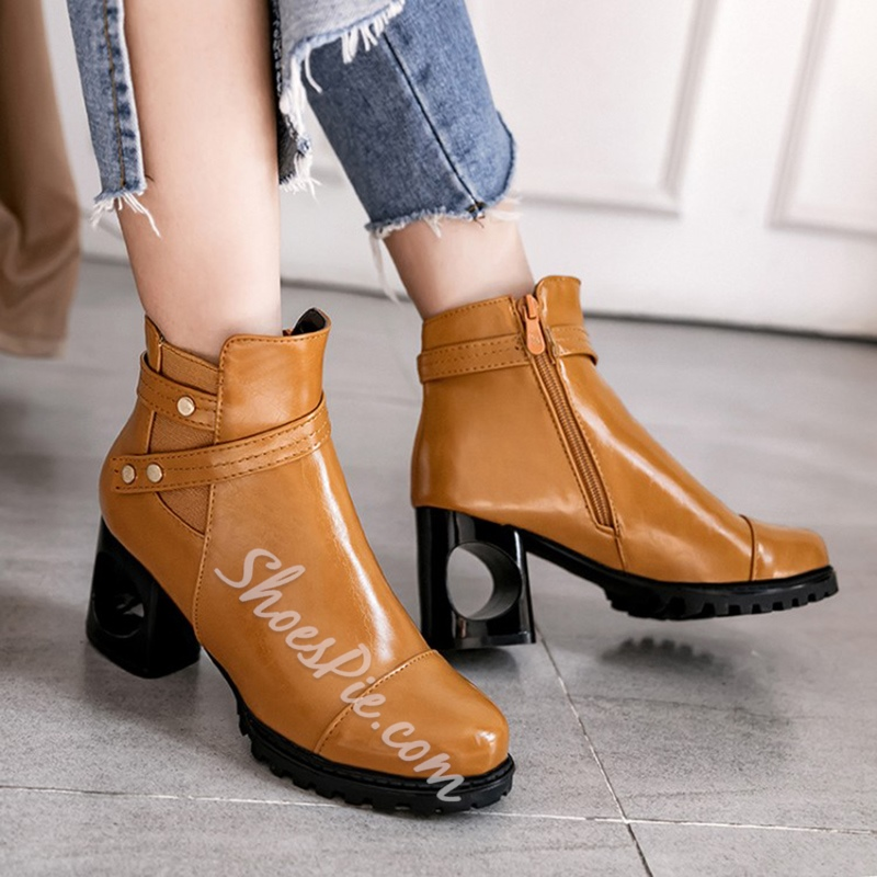 Shoespie Buckle Side Zipper Hollow Heel Ankle Boot