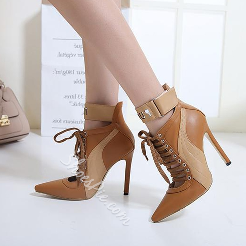 Shoespie Pointed Toe Cross Strap Hollow Stiletto Heel Ankle Boot