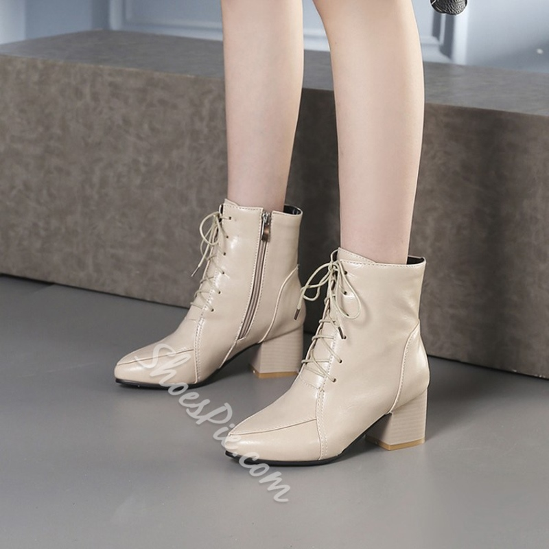 Shoespie Cross Strap Pointed Toe Side Zipper Chunky Heel