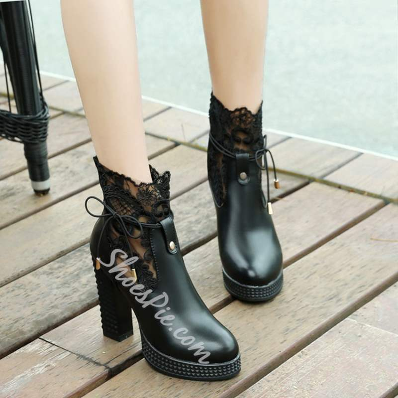 Shoespie Chunky Heel Lace Platform Lace-Up Ankle Boots