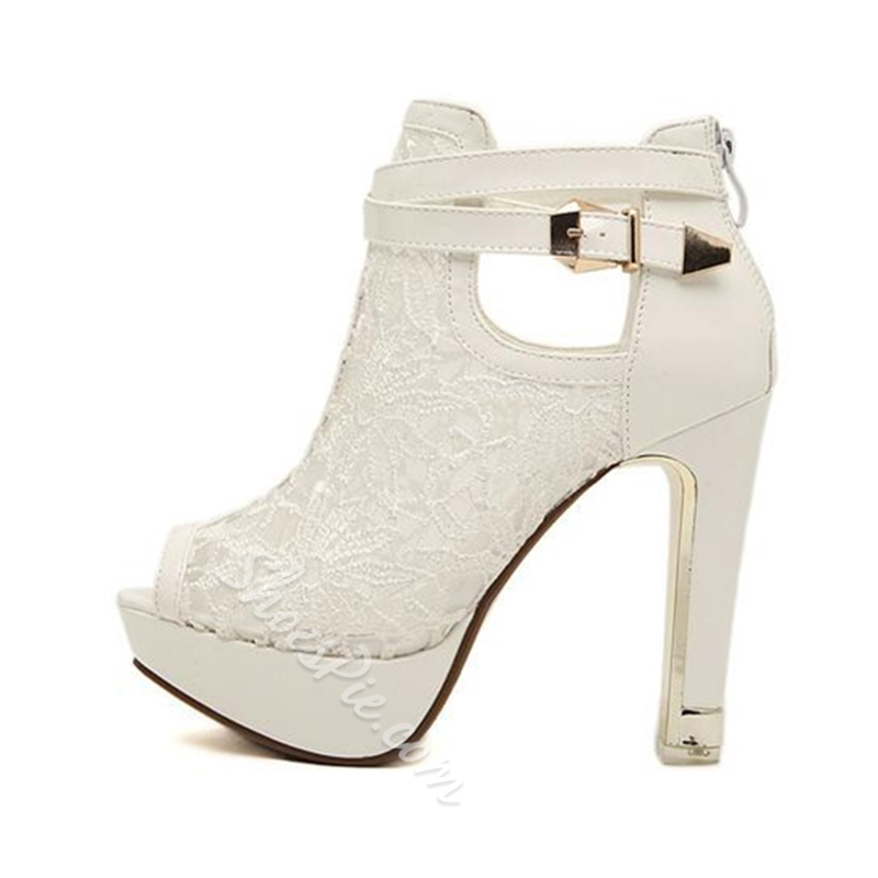 ShoespieHollow Platform See-Through Buckle Chunky Heel Back Zip Ankle Boot