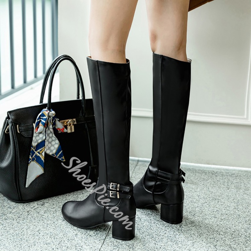 Shoespie Buckle Slip-On Chunky Heel Knee High Boot