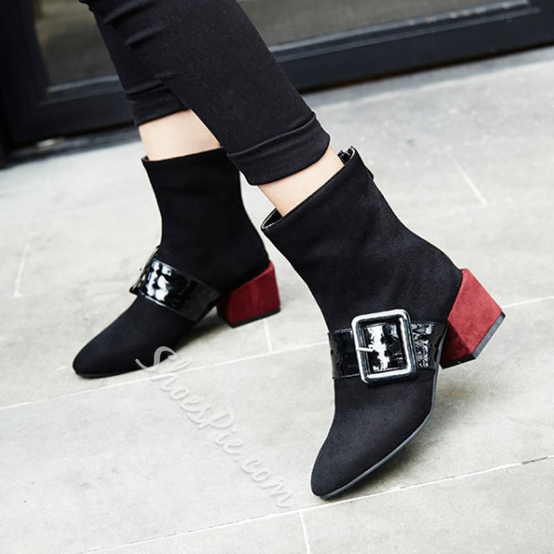 Shoespie Casual Buckle Pointed Toe Chunky Heel Back Zip Ankle Boot